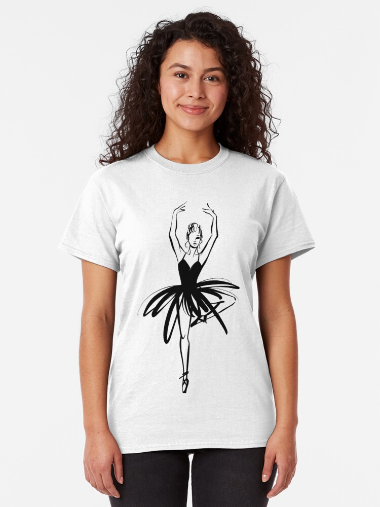 Vista alternativa de Camiseta clásica Ilustración gráfica dibujada a mano Ballet Dancer