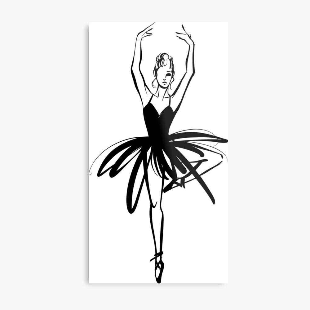 Ilustración gráfica dibujada a mano Ballet Dancer Lámina metálica