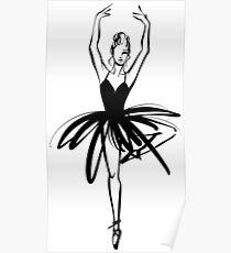 Ballet Dancer hand drawn graphic illustration Poster