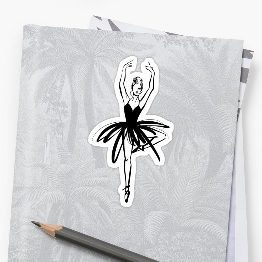 Ilustración gráfica dibujada a mano Ballet Dancer Pegatina