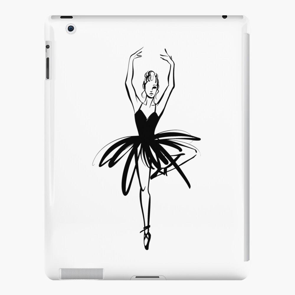 Ilustración gráfica dibujada a mano Ballet Dancer Funda y vinilo para iPad