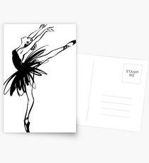 Ballerina im Tutu in der Leistungsposition. Postkarten
