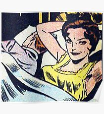 Woman in bed popart Poster
