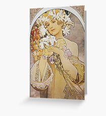 Alphonse Mucha - Flowers 1897  Greeting Card