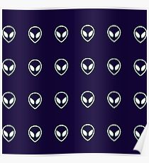 Space Out Alien Pattern Navy Blue Poster