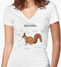 Anatomy of a Squirrel Women's Fitted V-Neck T-Shirt