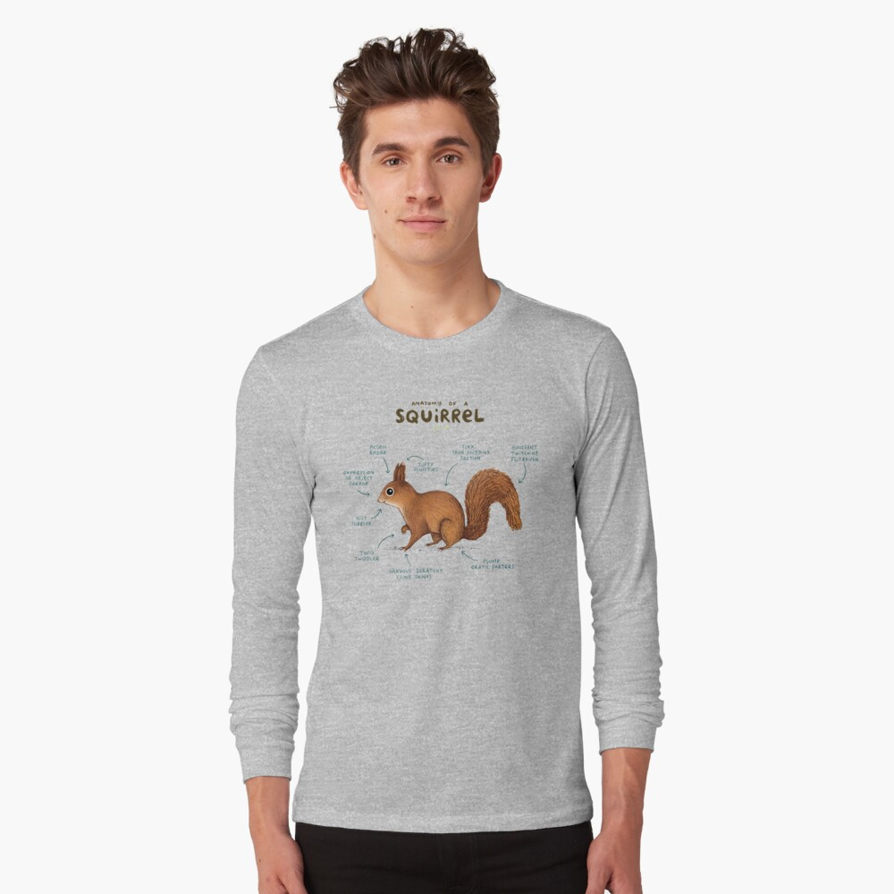 Anatomy of a Squirrel Long Sleeve T-Shirt Front
