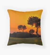 Sunset On The 9th Fairway At Aphrodite Hills Throw Pillow
