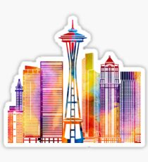 Seattle landmarks watercolor poster Sticker