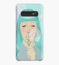 Blue Girl Blowing Bubbles Case/Skin for Samsung Galaxy