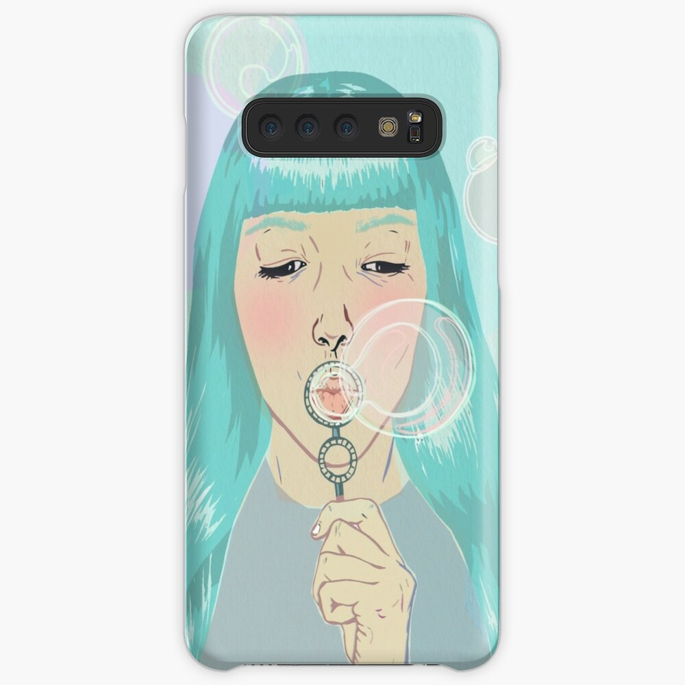 Blue Girl Blowing Bubbles Case & Skin for Samsung Galaxy