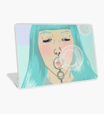 Blue Girl Blowing Bubbles Laptop Skin