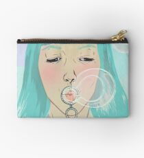 Blue Girl Blowing Bubbles Zipper Pouch