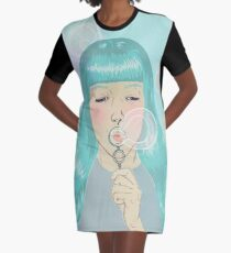 Blue Girl Blowing Bubbles Graphic T-Shirt Dress