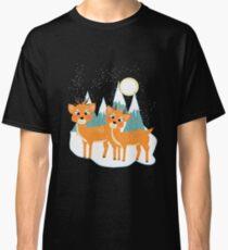 Christmas Festive Whimsical Reindeer Snow Scene Classic T-Shirt