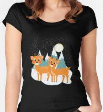 Christmas Festive Whimsical Reindeer Snow Scene Women's Fitted Scoop T-Shirt