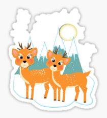 Christmas Festive Whimsical Reindeer Snow Scene Sticker