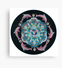 Pink Dolphin Flower of Life Mandala Canvas Print