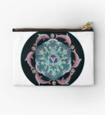 Pink Dolphin Flower of Life Mandala Studio Pouch
