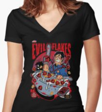 EVIL FLAKES Women's Fitted V-Neck T-Shirt
