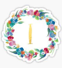 Floral Initial Wreath Monogram I Sticker