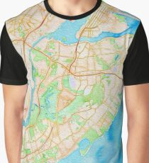 Watercolor map of Staten Island Graphic T-Shirt