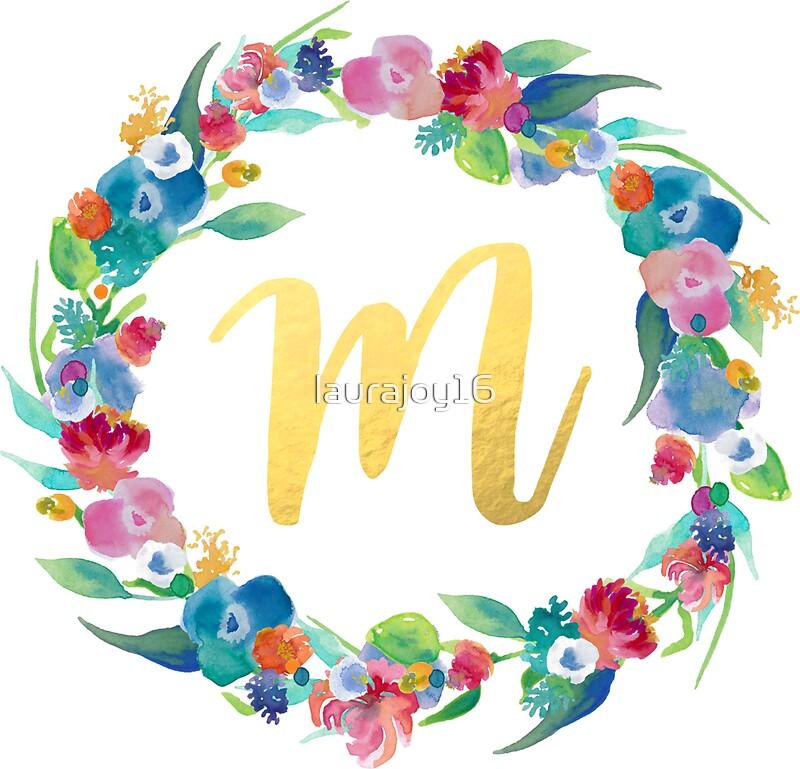 u0026quot floral initial wreath monogram m u0026quot  stickers by laurajoy16