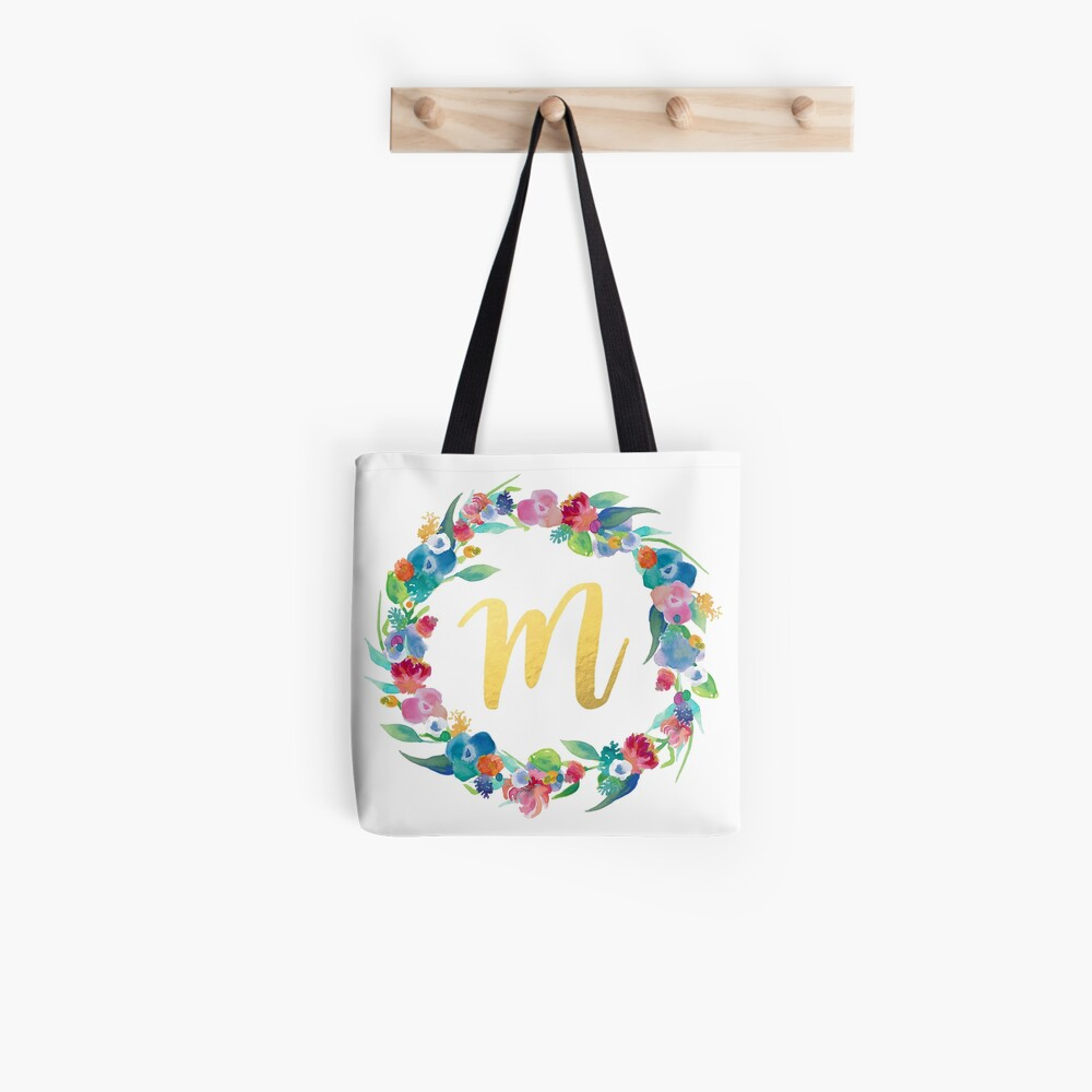 Floral Initial Wreath Monogram M Tote Bag