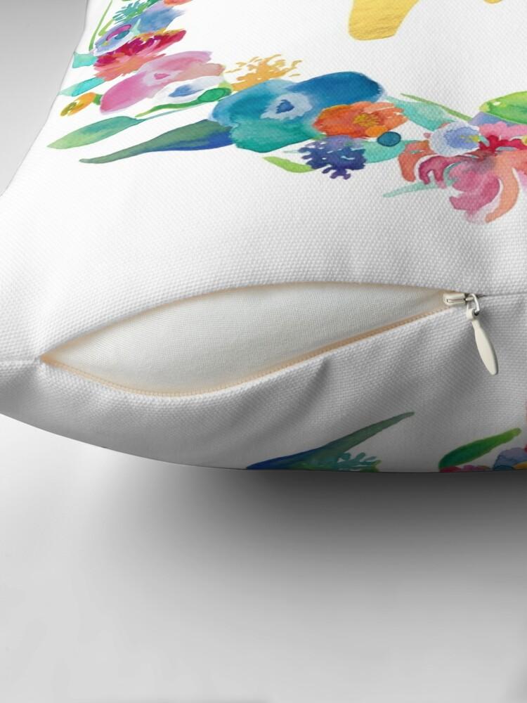 Alternate view of Floral Initial Wreath Monogram M Throw Pillow