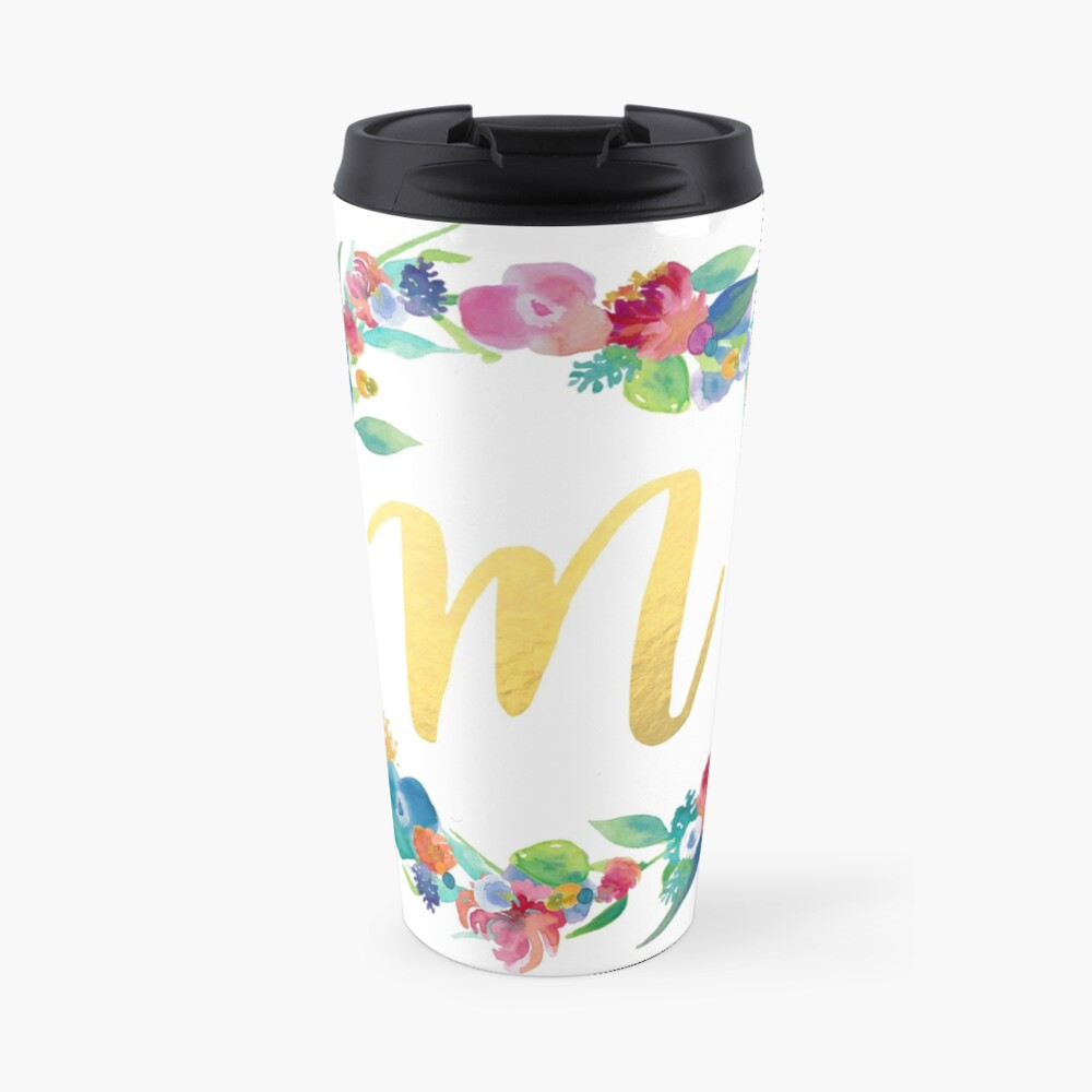 Floral Initial Wreath Monogram M Travel Mug