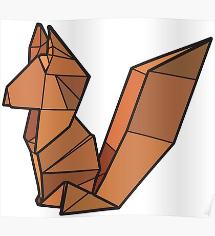 Origami Fox Poster