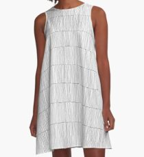 Wavy Lines White A-Line Dress