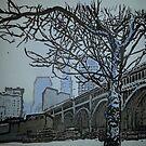 Pen and ink Detroit Superior bridge Cleveland skyline by Blueland216