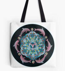 Pink Dolphin Flower of Life Mandala Tote Bag