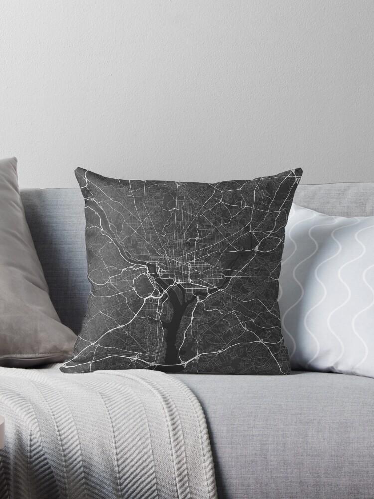 Washington Usa Map White On Black Throw Pillows By Graphical