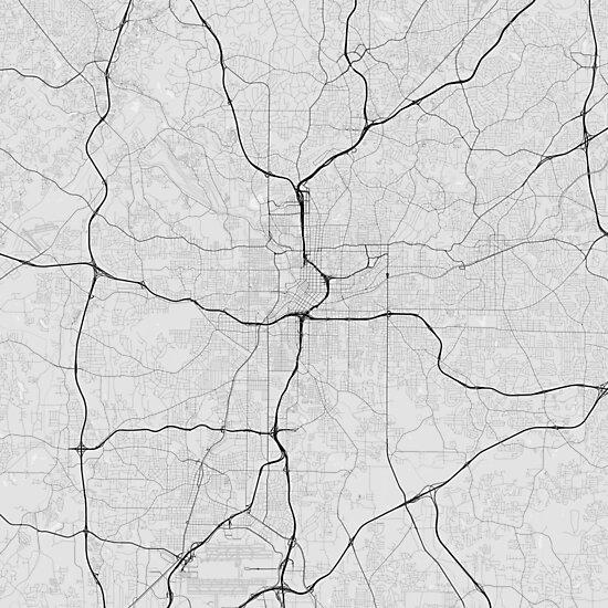 Atlanta, USA Map. (Black on white)\