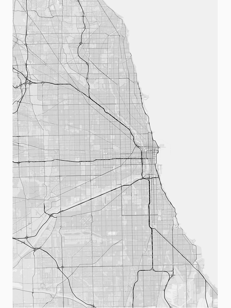 Chicago USA Map Black on white Unisex TShirt by Graphical