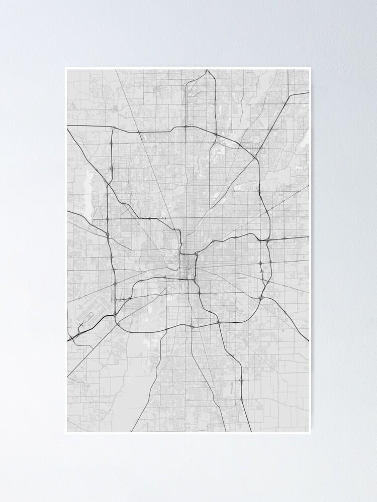 Indianapolis, USA Map. (Black on white)   Poster