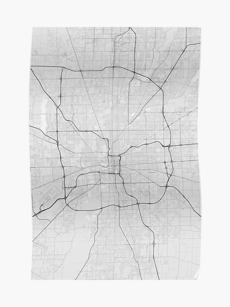 Indianapolis, USA Map. (Black on white) | Poster