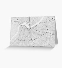 Louisville, USA Map. (Black on white) Greeting Card