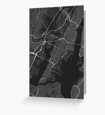Jersey City, USA Map. (White on black) Greeting Card