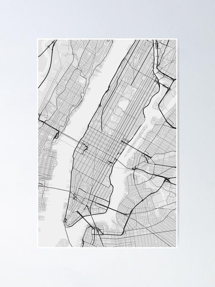 Manhattan, New York, USA Map. (Black on white)   Poster