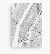 Manhattan, New York, USA Map. (Black on white) Canvas Print