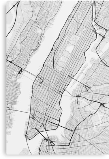 New York Map Black And White.Manhattan New York Usa Map Black On White Metal Prints By