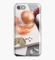 Raw ingredients for natural food in vintage style iPhone Case/Skin