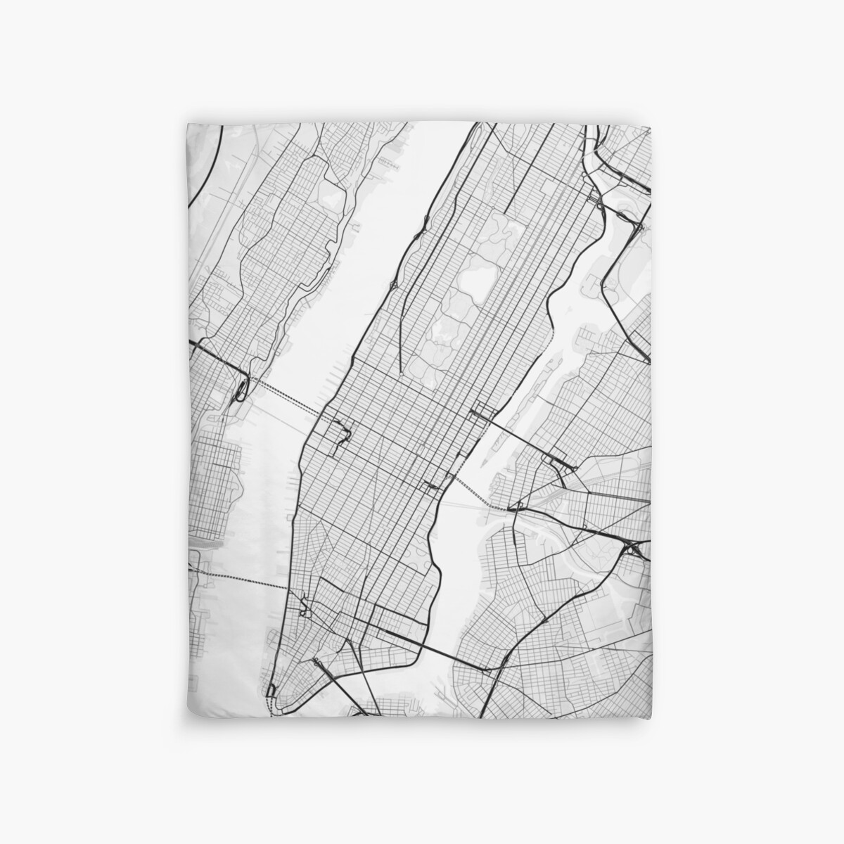Manhattan New York USA Map Black On White Duvet Covers By - Usa map black