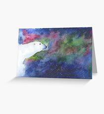 Aquarell-Eisbär mit Aurora Borealis Grußkarte