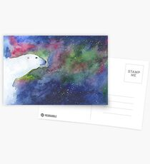 Watercolor Polar Bear with Aurora Borealis Postcards