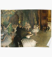 Edgar Degas - The Rehearsal Of The Ballet Onstage 1874 Poster