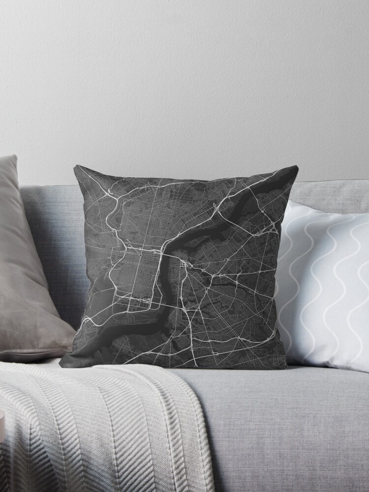 Philadelphia Usa Map White On Black Throw Pillows By Graphical
